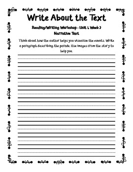 2nd Grade Unit 1 Write About the Text - Reading Wonders 2017