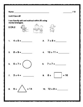 2nd Grade - Unit 2 Everyday Math - Quizzes