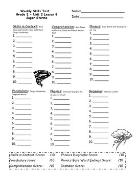 2nd Grade, Unit 2 Journey's Weekly Skills Test Answer Sheet