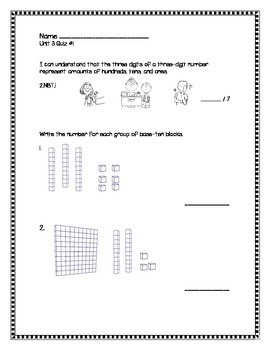 2nd Grade - Unit 3 Everyday Math - Quizzes