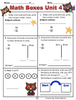 2nd Grade Unit 4 Everyday Math Review ~ Addition & Subtraction
