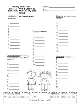 2nd Grade, Unit 5 Journey's Weekly Skills Test Answer ...