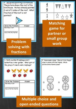 2nd Grade Unit & Test Fractions Parts of Whole & Parts of a Set (TEKS,STAAR)*ZIP