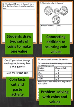 2nd Grade Math Unit & Test: Counting Sets of Coins Problem Solving***PDF