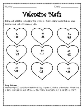 2nd Grade Valentine Math Activities