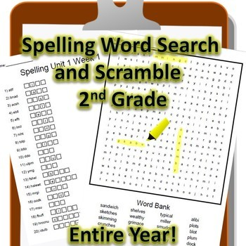 2nd Grade WONDERS Spelling Word Search and Scramble -- Entire Year Bundle