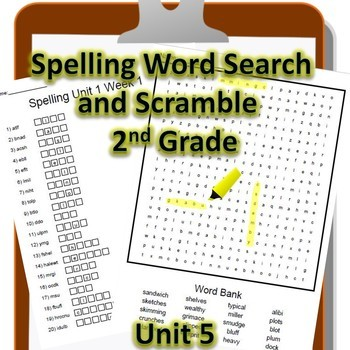 2nd Grade WONDERS Spelling Word Search and Scramble -- Unit 5 (Differentiated)