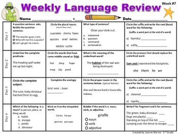 2nd Grade Weekly Language Review by Joanne Warner | TpT