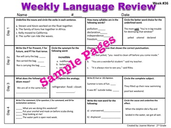 2nd Grade Weekly Language Review Editable