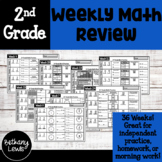 2nd Grade Weekly Math Practice: Homework, Morning Work, or