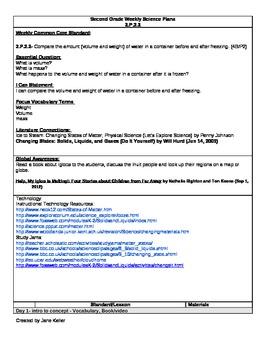 2nd Grade Weekly Science Plan- Essential Standard 2.P.2.2