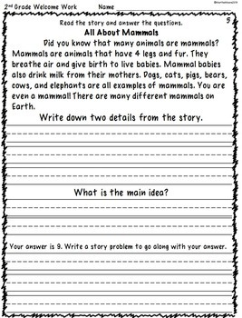 Morning Work for 2nd Grade (Welcome Work) Months 3 and 4