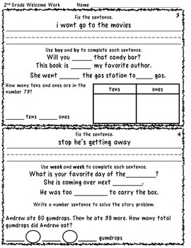 Morning Work for 2nd Grade (Welcome Work) Months 5 and 6