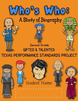 2nd Grade Who's Who Texas Performance Standards Project based Curriculum