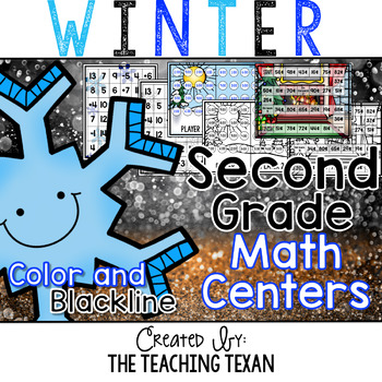 2nd Grade Winter Math Center Games and Activities