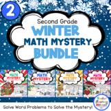 2nd Grade Winter Math Mysteries Bundle 4-pack