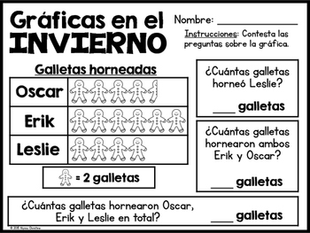 2nd Grade Winter Math Printables in Spanish