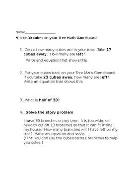 2nd Grade Winter Subtraction Game and Worksheet