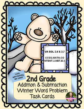 2nd Grade Winter Word Problem Task Cards (With QR Codes)