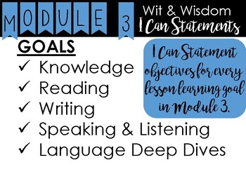 2nd Grade - Wit and Wisdom I Can Statements - Module 3 - All Lessons