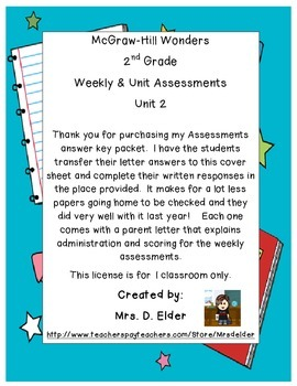 2nd Grade Wonders Assessment Cover Sheets Unit 2