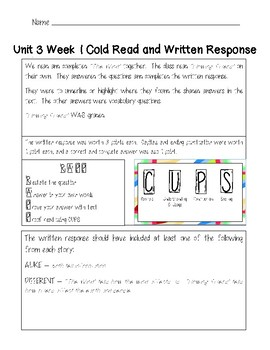 2nd Grade Wonders Assessment Cover Sheets Unit 3