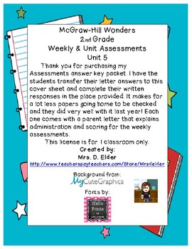 2nd Grade Wonders Assessment Cover Sheets Unit 5