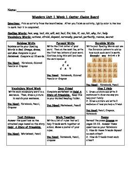 2nd Grade Wonders Choice Boards Unit 1