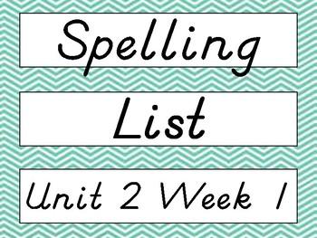 2nd Grade Wonders D'Nealian Chevron Spelling Word Cards Unit 2 - Focus Wall