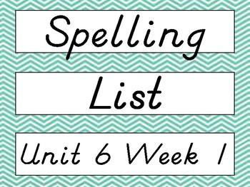 2nd Grade Wonders D'Nealian Chevron Spelling Word Cards Unit 6 - Focus Wall