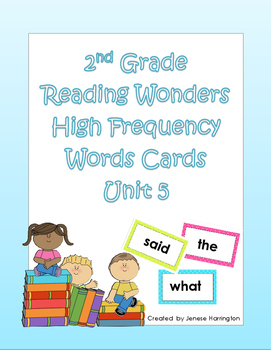 2nd Grade Reading Wonders High Frequency Cards - Unit 5