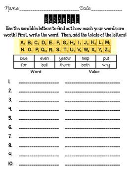 2nd Grade Wonders High Frequency Word Practice