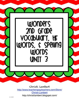 2nd Grade Wonders McGraw Hill Vocabulary, HF, and Spelling Words - Unit 3