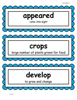 2nd Grade Wonders McGraw Hill Vocabulary, HF, and Spelling Words - Unit 6