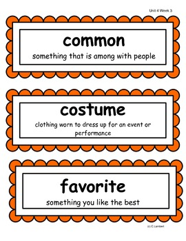 2nd Grade Wonders McGraw Hill Vocabulary Word Cards - Unit 4