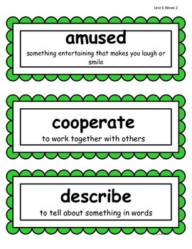 2nd Grade Wonders McGraw Hill Vocabulary Word Cards - Unit 5