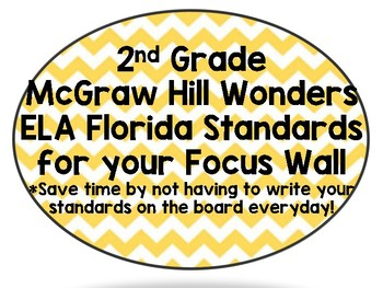 2nd Grade Wonders Reading ALL Units - Focus Wall w/ FL-ELA Common Core Standards