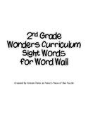 2nd Grade Wonders Sight Words in Printer Friendly Glitter