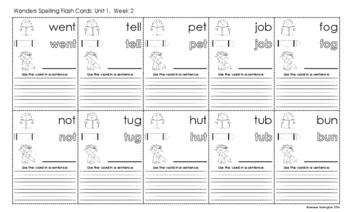 2nd Grade Reading Wonders Spelling Flash Cards - UNIT 1