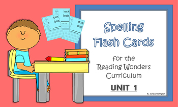 2nd Grade Reading Wonders Spelling Flash Cards - UNIT 1