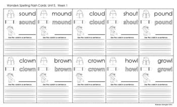 2nd Grade Reading Wonders Spelling Flash Cards - UNIT 5