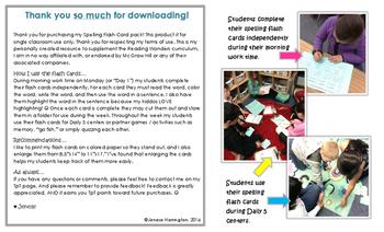 2nd Grade Reading Wonders Spelling Flash Cards - UNIT 6