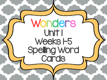 2nd Grade Wonders Spelling Word Cards Unit 1 Weeks 1-5