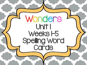 2nd Grade Wonders Spelling Word Cards Unit 1 Weeks 1-5