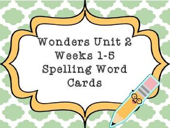 2nd Grade Wonders Spelling Word Cards Unit 2 Weeks 1-5