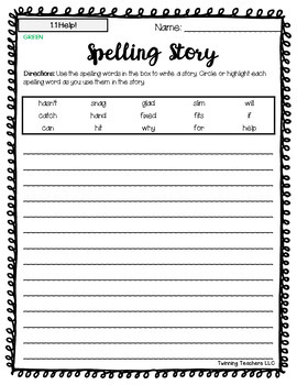 2nd Grade Wonders Spelling - Writing Activity - Beyond Lists - UNITS 1-6
