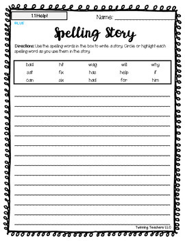 2nd Grade Wonders Spelling - Writing Activity - On Level Lists - UNITS 1-6