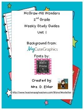2nd Grade Wonders Unit 1 Study Guides