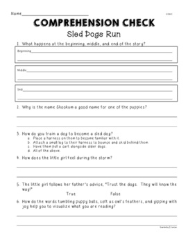 2nd Grade Wonders Unit 2 Week 1 Sled Dogs Run Comprehension Check