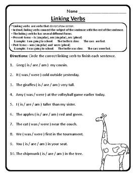 Linking Verbs Worksheet 2nd Grade Wonders Unit 4 Week 1 ...
